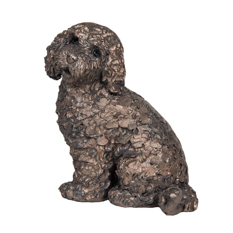 Frith Sculpture – Jasper – Cockapoo Sitting in Bronze Resin by Adrian Tinsley
