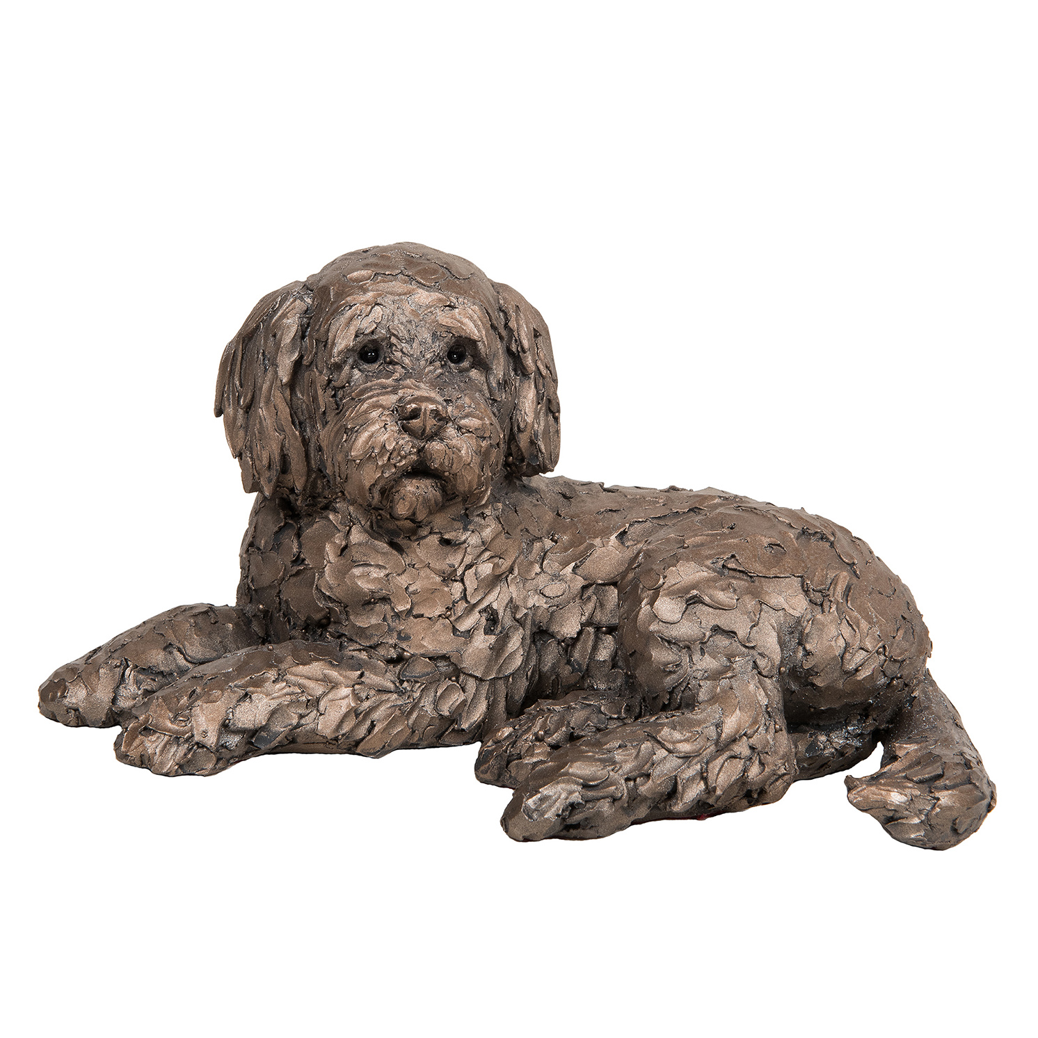 Frith Sculpture – Ozzy – Cockapoo Lying in Bronze Resin by Adrian Tinsley