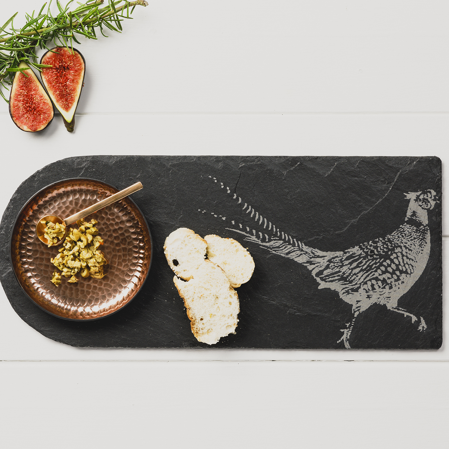 The Just Slate Company – Slate Pheasant & Copper Dish Serving Platter in Box