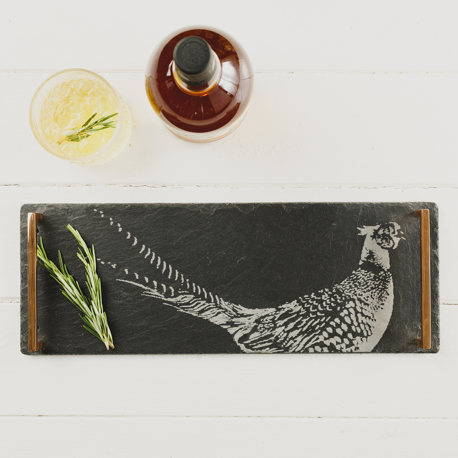 The Just Slate Company – Small Slate Pheasant Serving Tray with Copper Handles