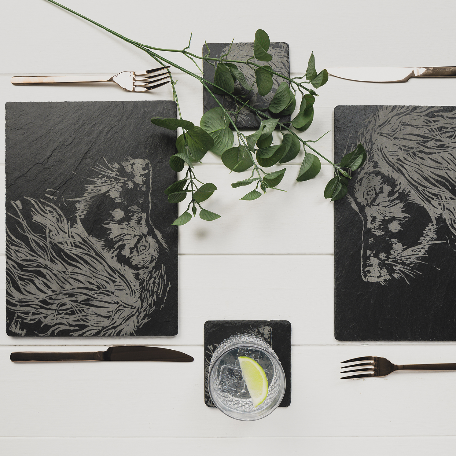 The Just Slate Company – Set of 2 Spaniel Engraved Slate Tablemats
