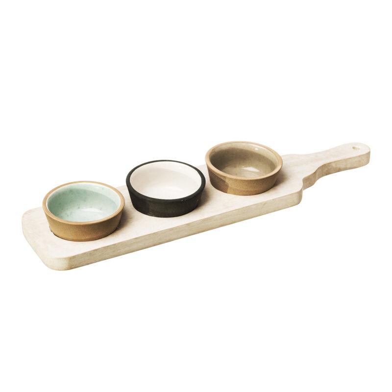 The Just Slate Company – Stoneware & Mango Wood Bowl & Paddle Set in Gift Box