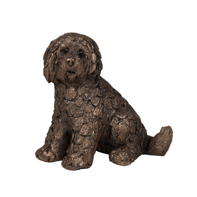 Frith Sculpture – Shorty Labradoodle Sitting in Bronze Resin in Gift Box