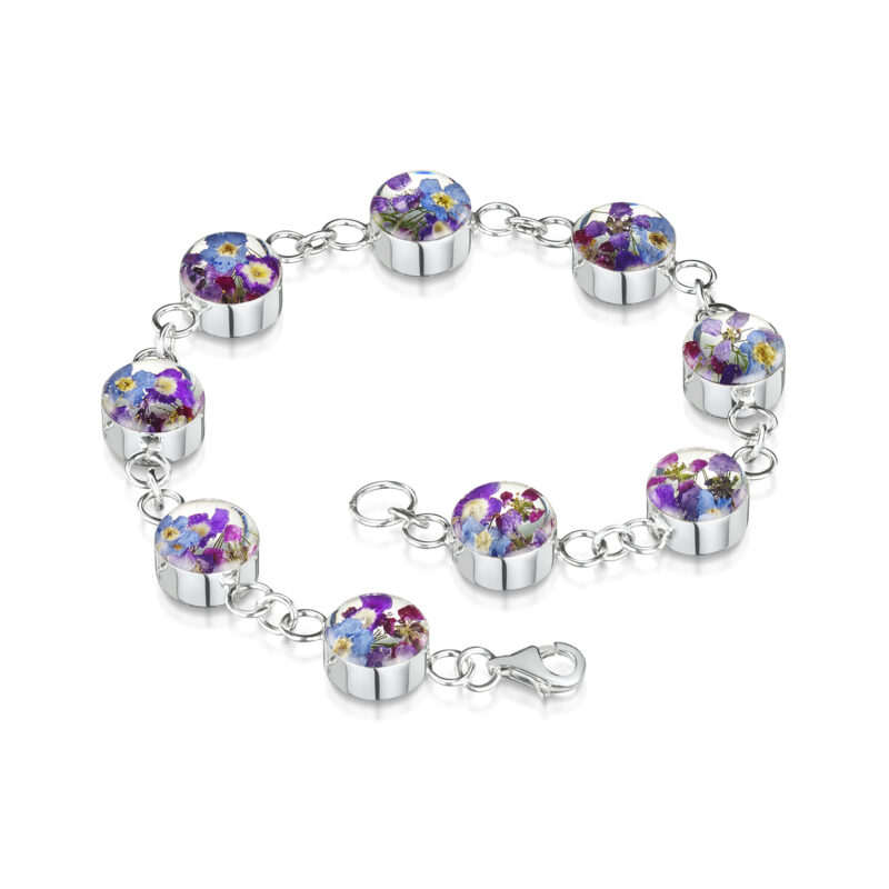 Shrieking Violet – Purple Haze Sterling Silver Round Charm Bracelet in Gift Box