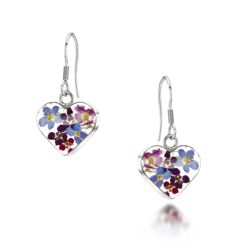 Shrieking Violet – Purple Haze Silver Small Heart Drop Earrings in Gift Box