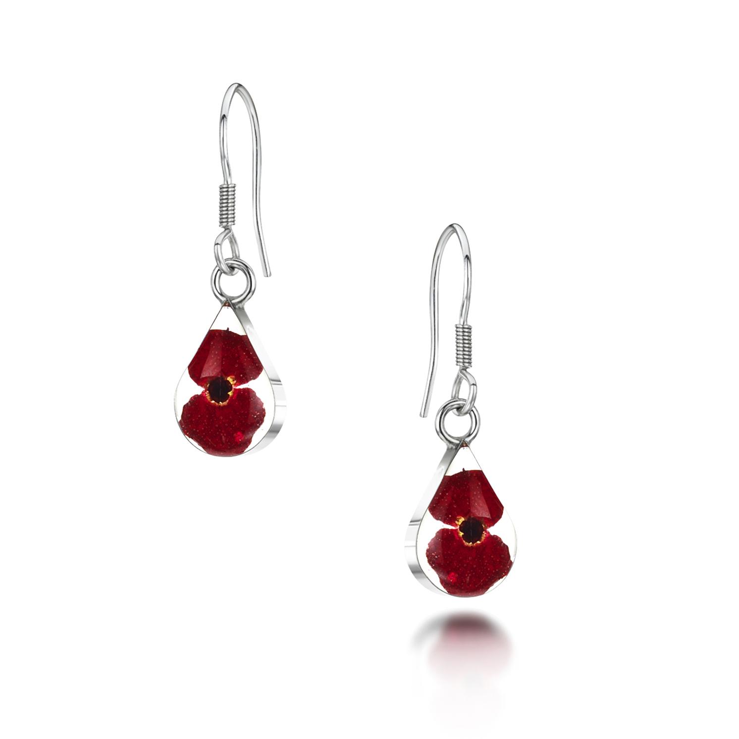 Shrieking Violet – Poppy Silver Extra Small Teardrop Drop Earrings in Gift Box