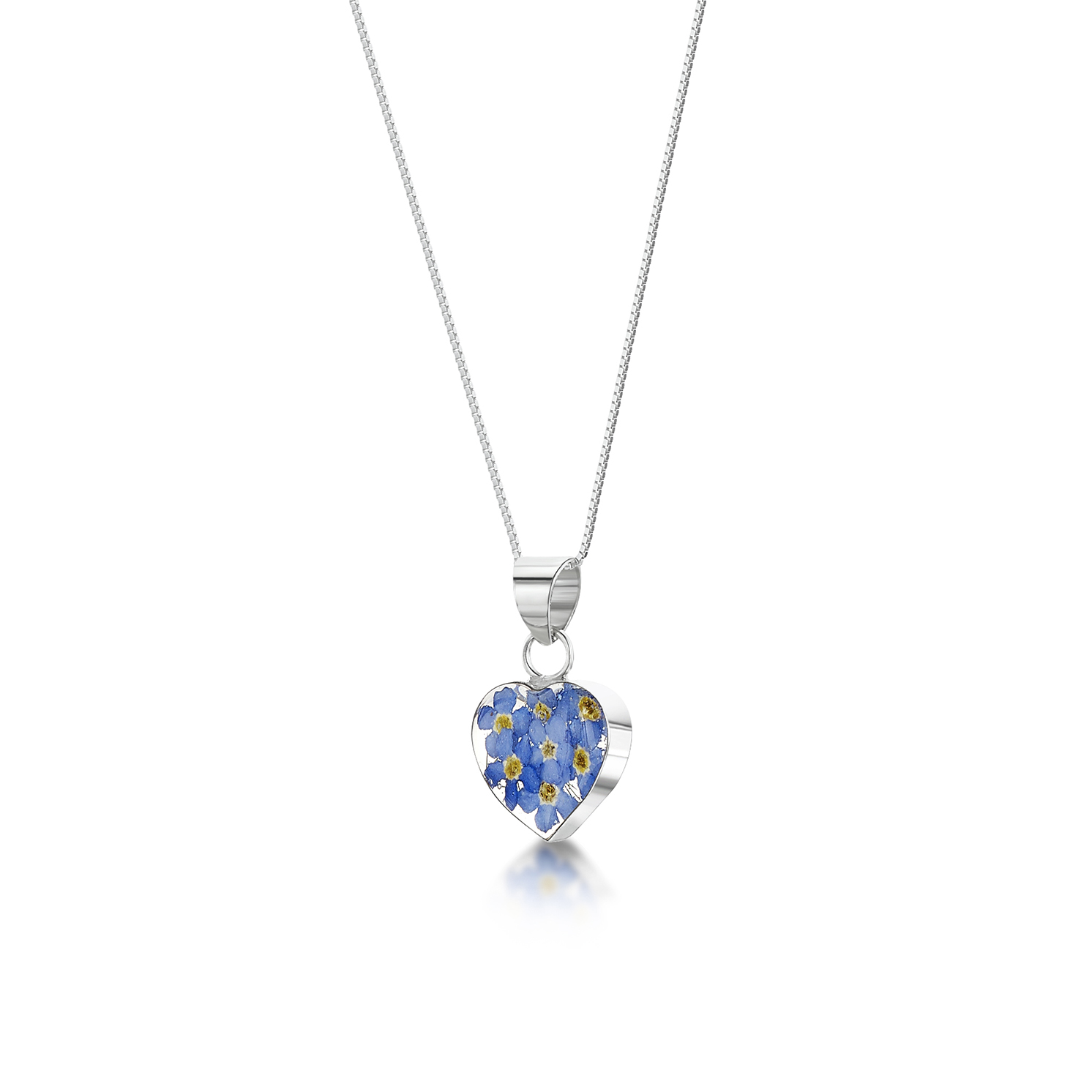 Shrieking Violet – Forget-me-not Sterling Silver Heart Pendant Necklace in Box