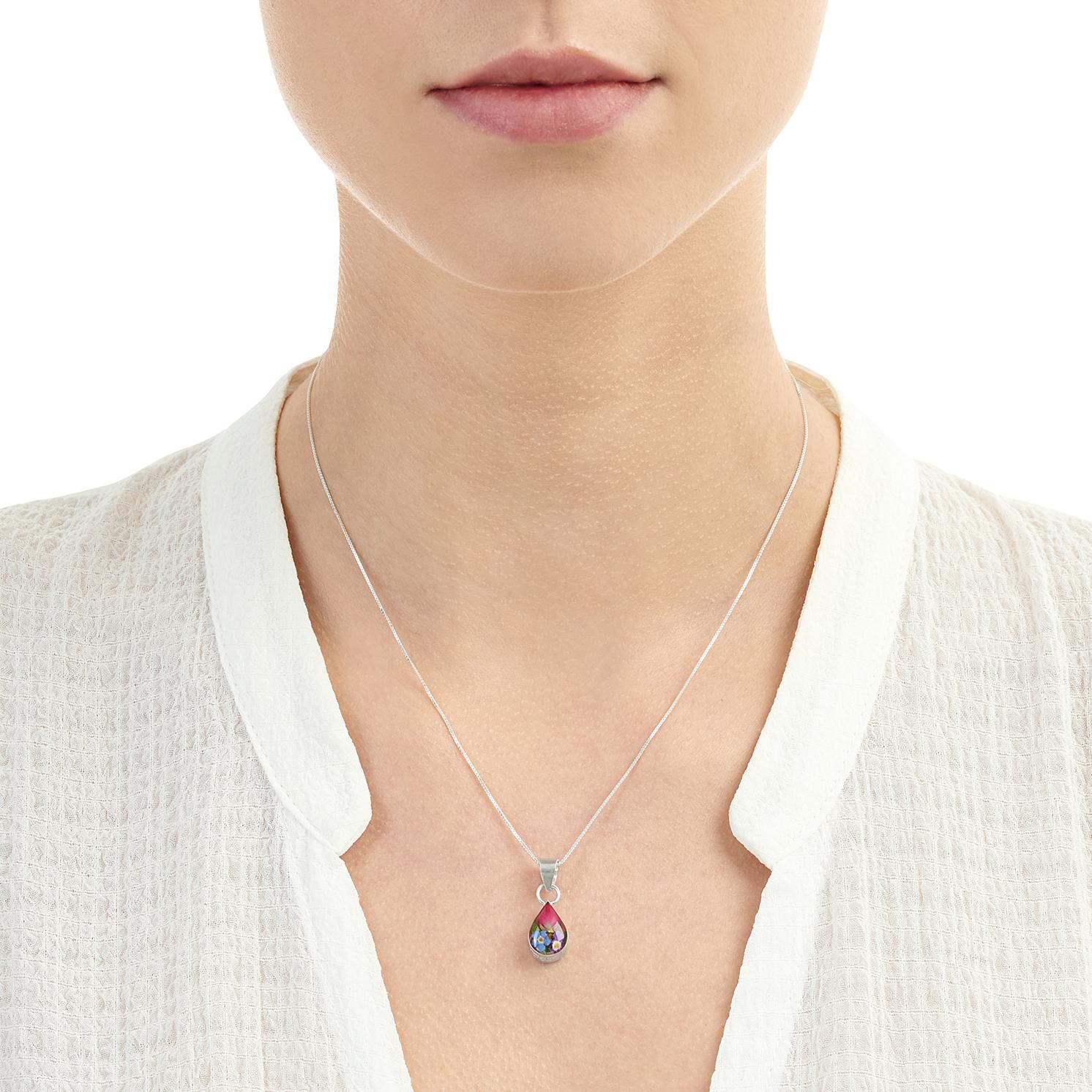 Shrieking Violet – Mixed Flowers Silver Small Teardrop Pendant Necklace in Box