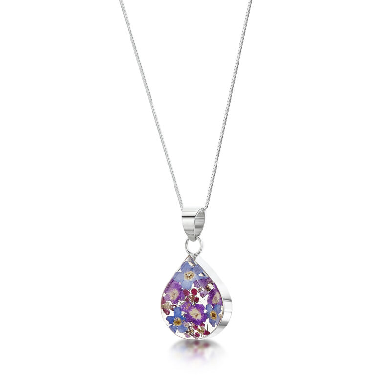 Shrieking Violet – Purple Haze Silver Medium Teardrop Pendant Necklace in Box