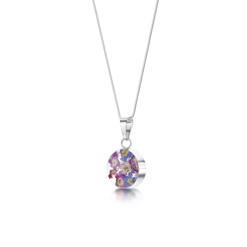 Shrieking Violet – Purple Haze Silver Round Pendant Necklace in Gift Box