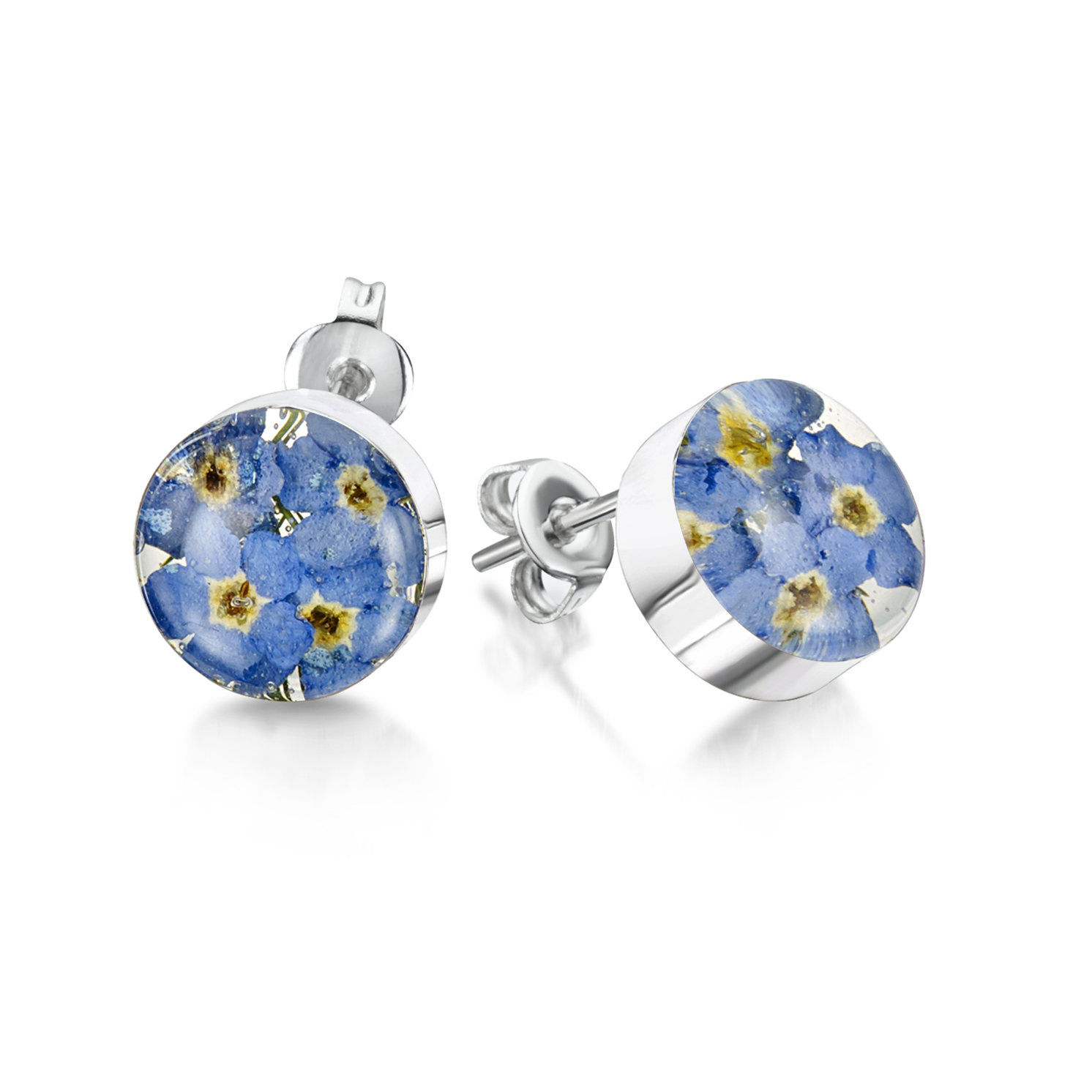 Shrieking Violet – Forget-me-not Sterling Silver Stud Round Earrings in Gift Box