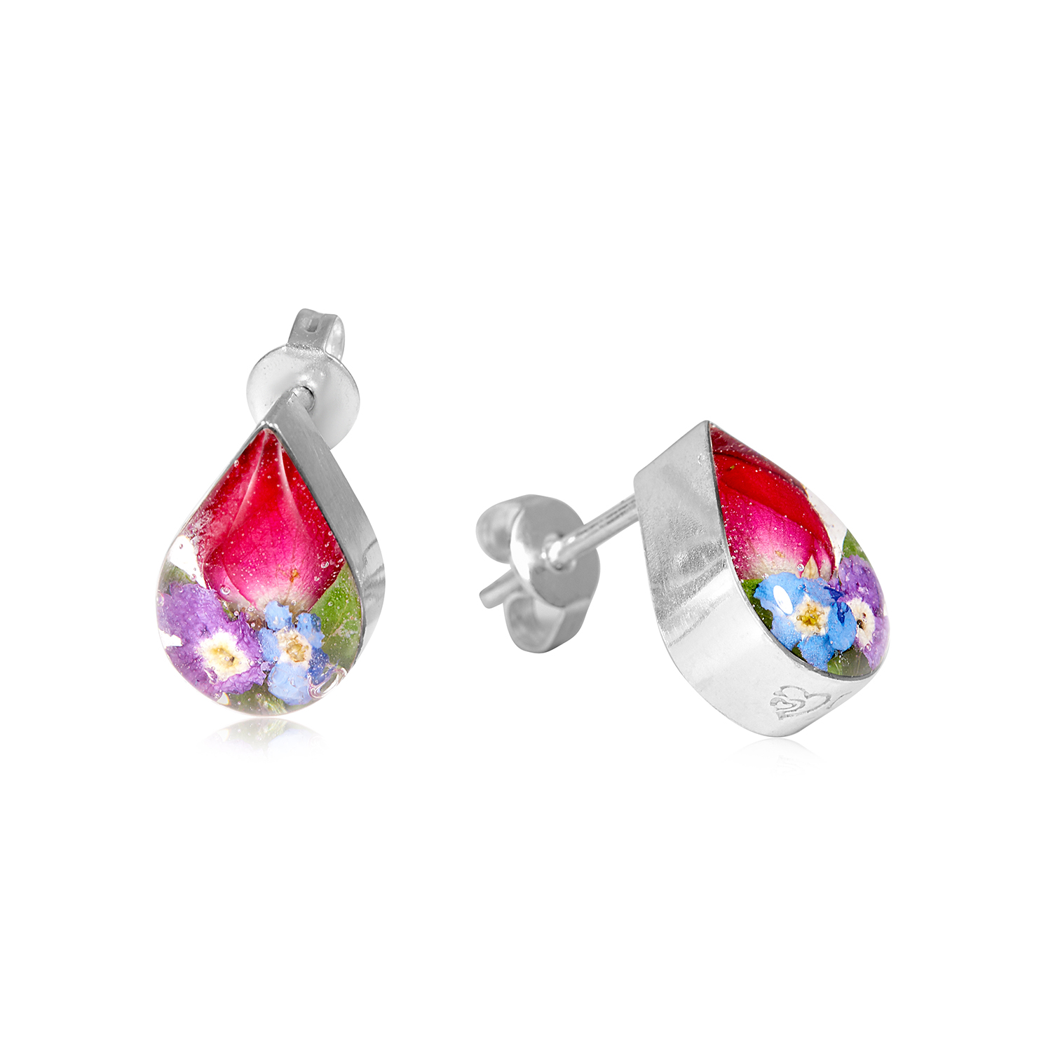 Shrieking Violet – Mixed Flowers Silver Stud Teardrop Earrings in Gift Box
