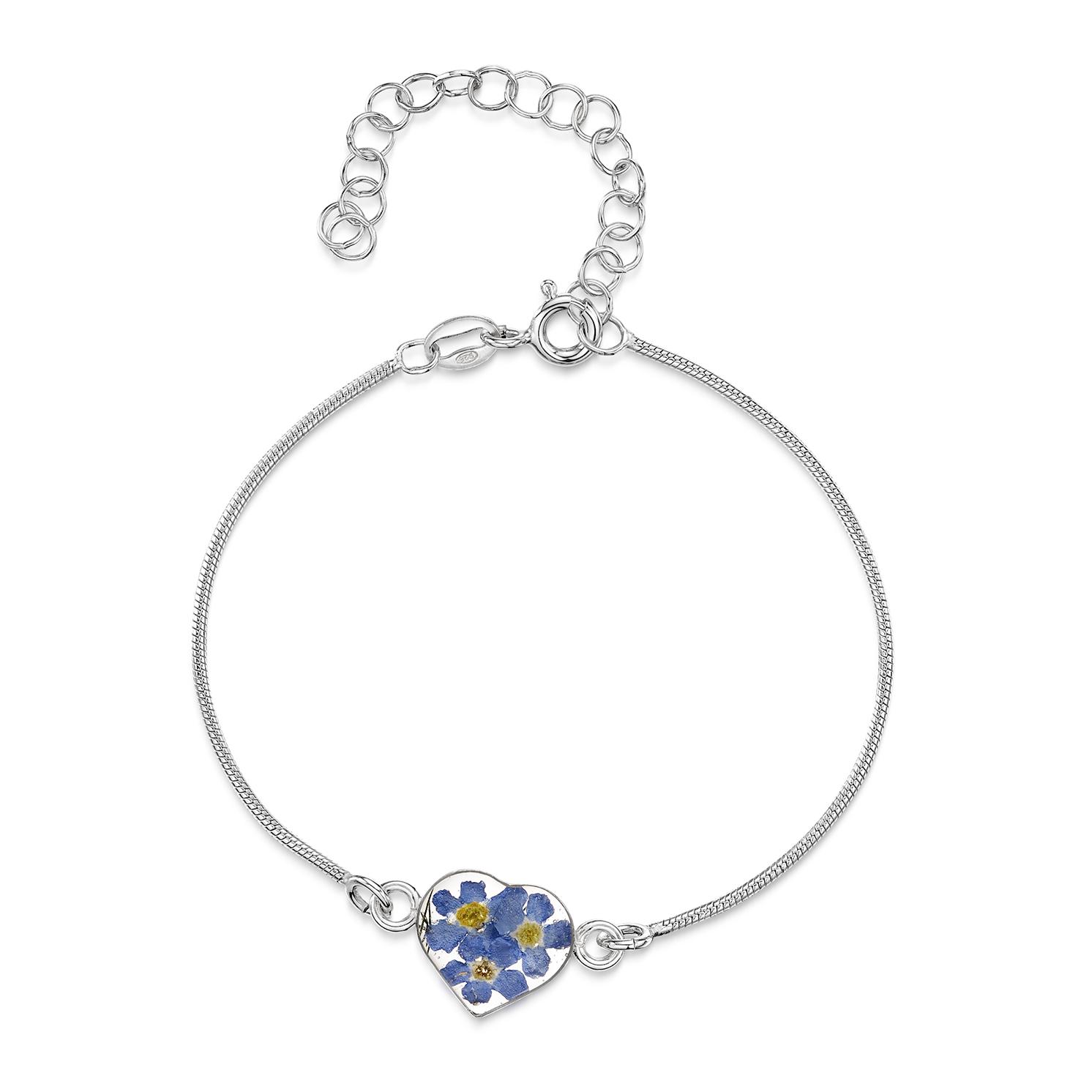 Shrieking Violet – Forget-me-not Silver Snake Heart Charm Bracelet in Gift Box
