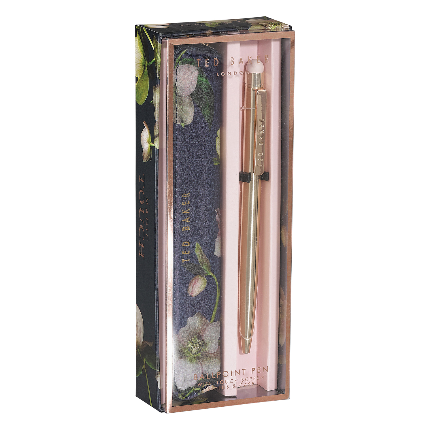 Ted Baker – Rose Gold Touchscreen Slim Pen with Arboretum Case in Gift Box