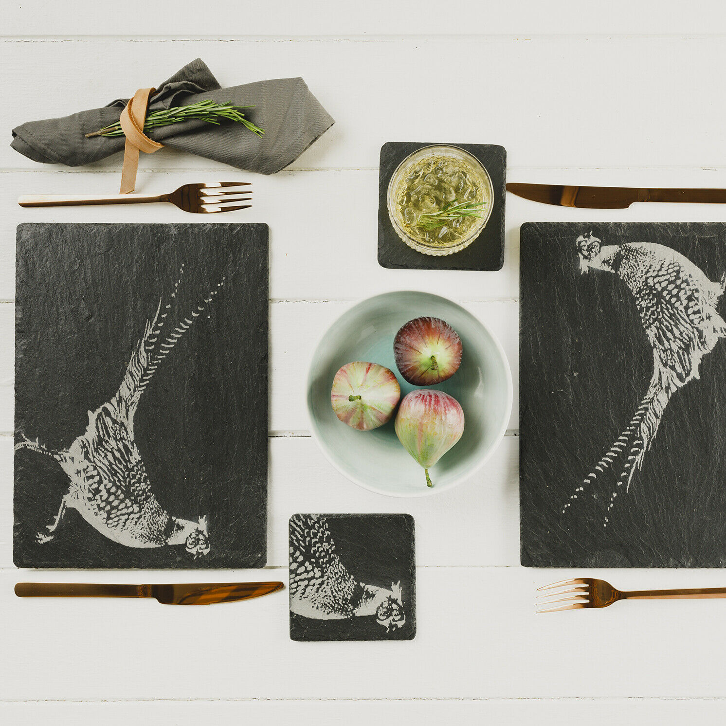 The Just Slate Company – Set of 2 Pheasant Engraved Slate Tablemats