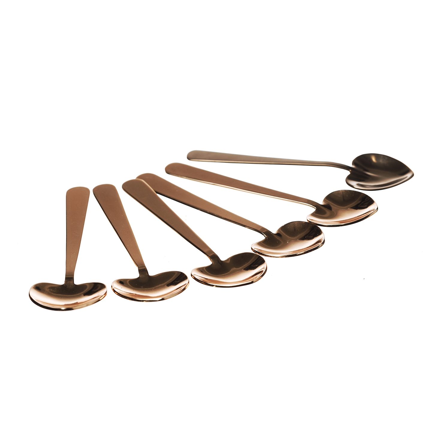 The Just Slate Company – Set of 6 Copper Heart Spoons in Presentation Box