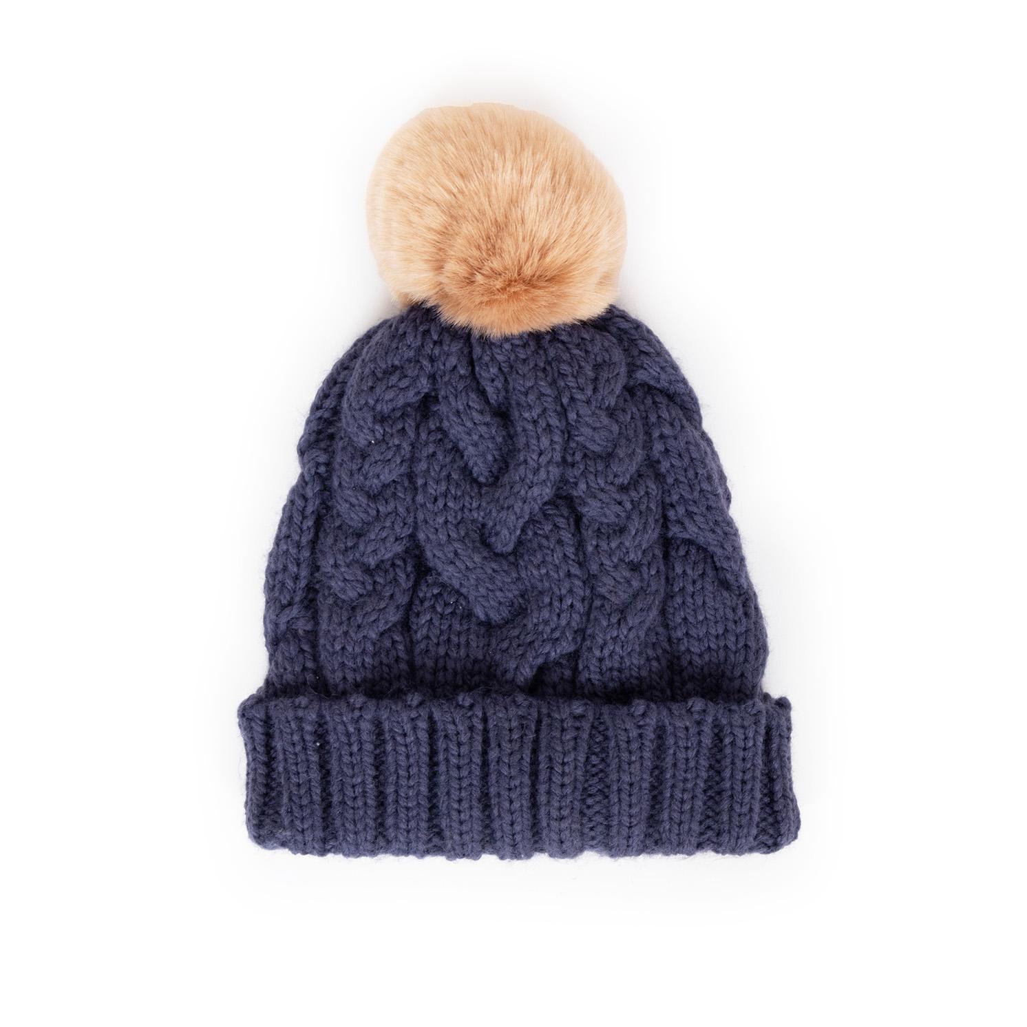 Powder – Charlotte Navy Blue Pom Pom Hat with Powder Presentation Gift Bag