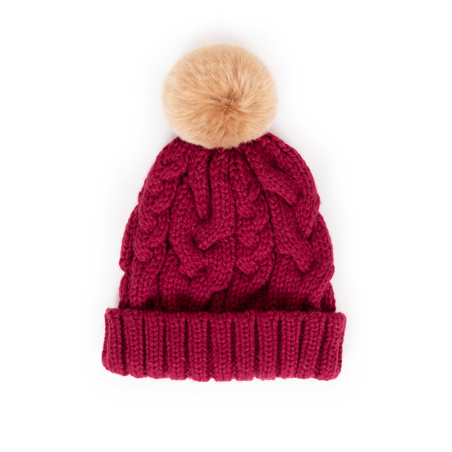 Powder – Charlotte Raspberry Pom Pom Hat with Powder Presentation Gift Bag