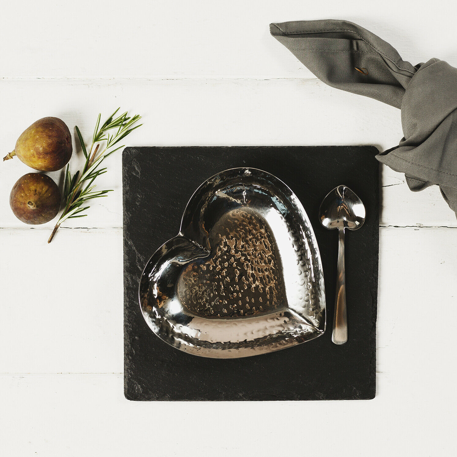The Just Slate Company – Slate Heart Fusion Dish and Spoon Set in Presentation Box