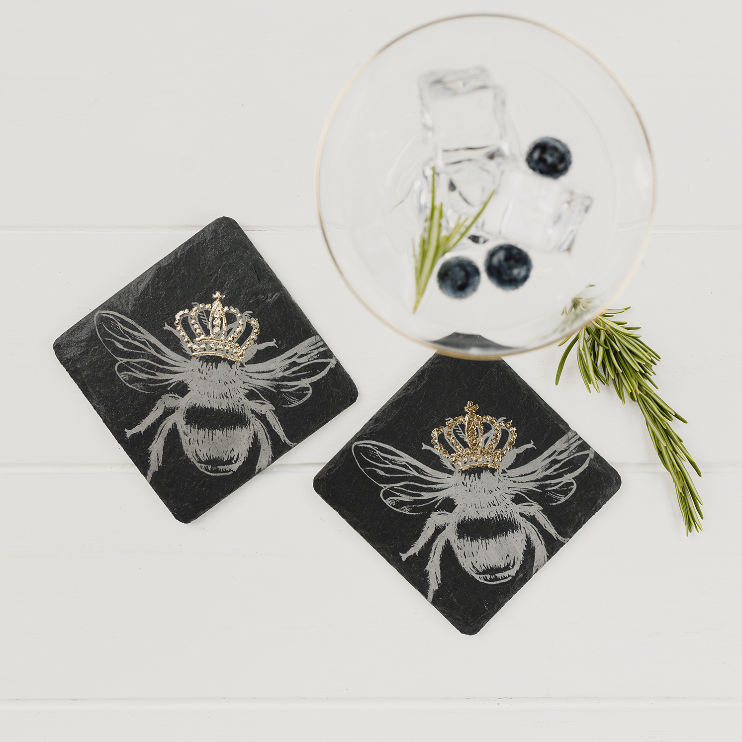 The Just Slate Company – Set of 2 Gold Leaf Crowned Bee Slate Coasters