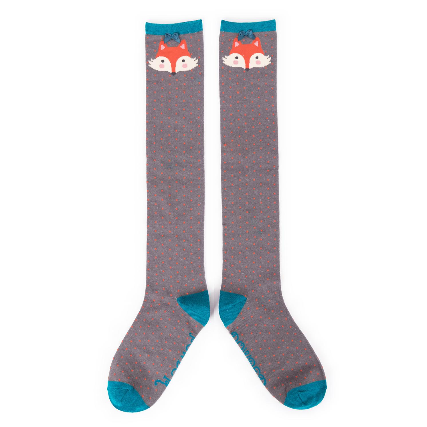 Powder – Charcoal Grey Fox Knee High Socks with Powder Presentation Gift Bag