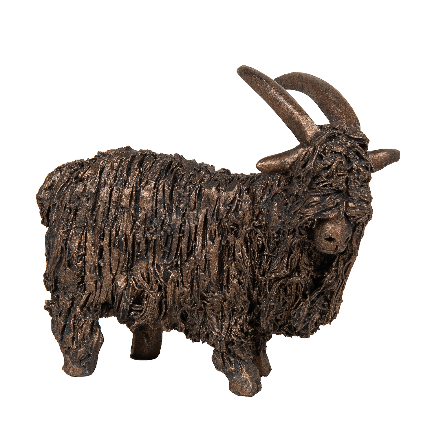 Frith Sculpture – Feral Goat Standing in Bronze Resin in Gift Box