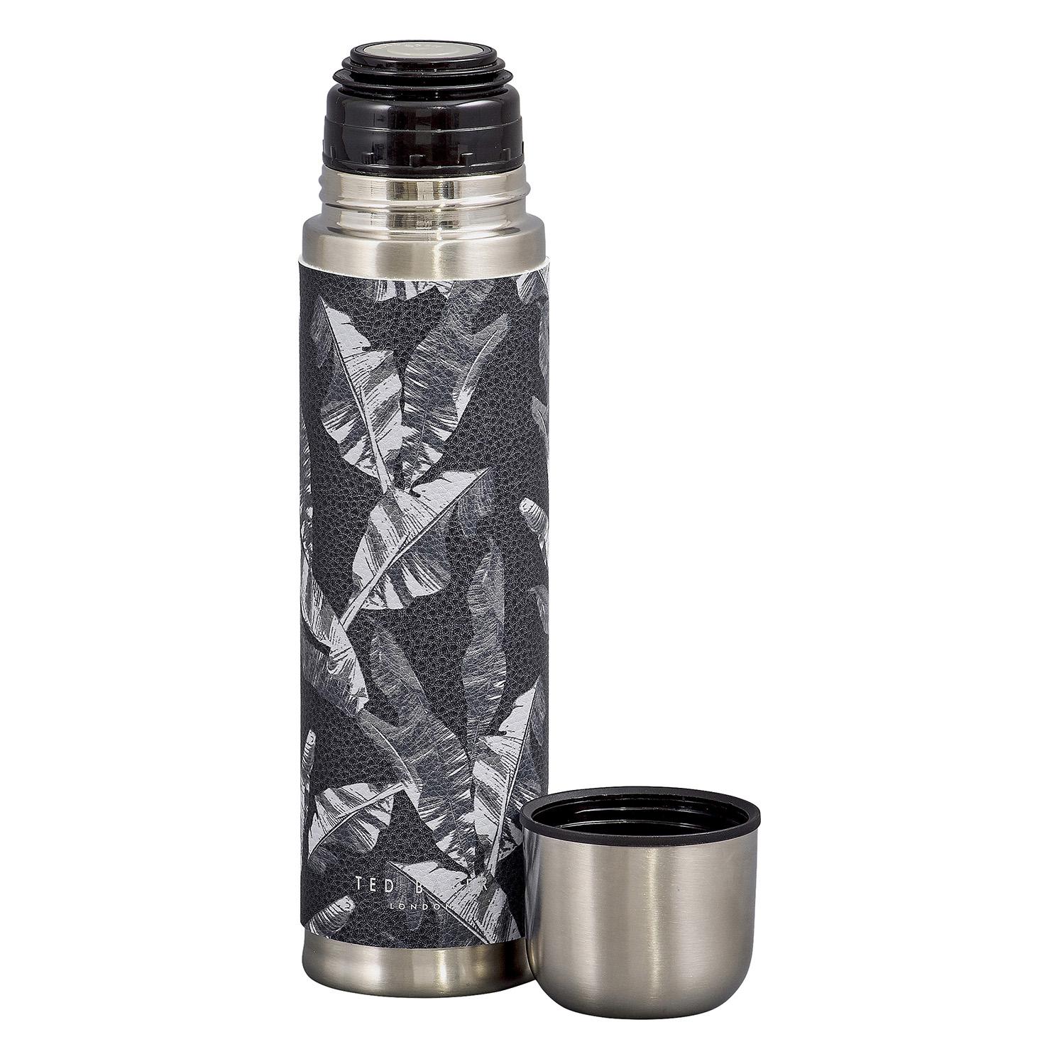Ted Baker – Black Leaf Print Stainless Steel Flask