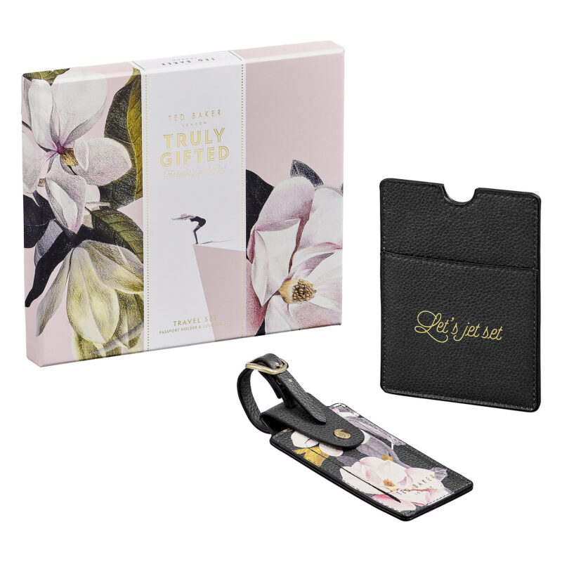 Ted Baker – Black Opal Passport Holder & Luggage Tag in Presentation Gift Box