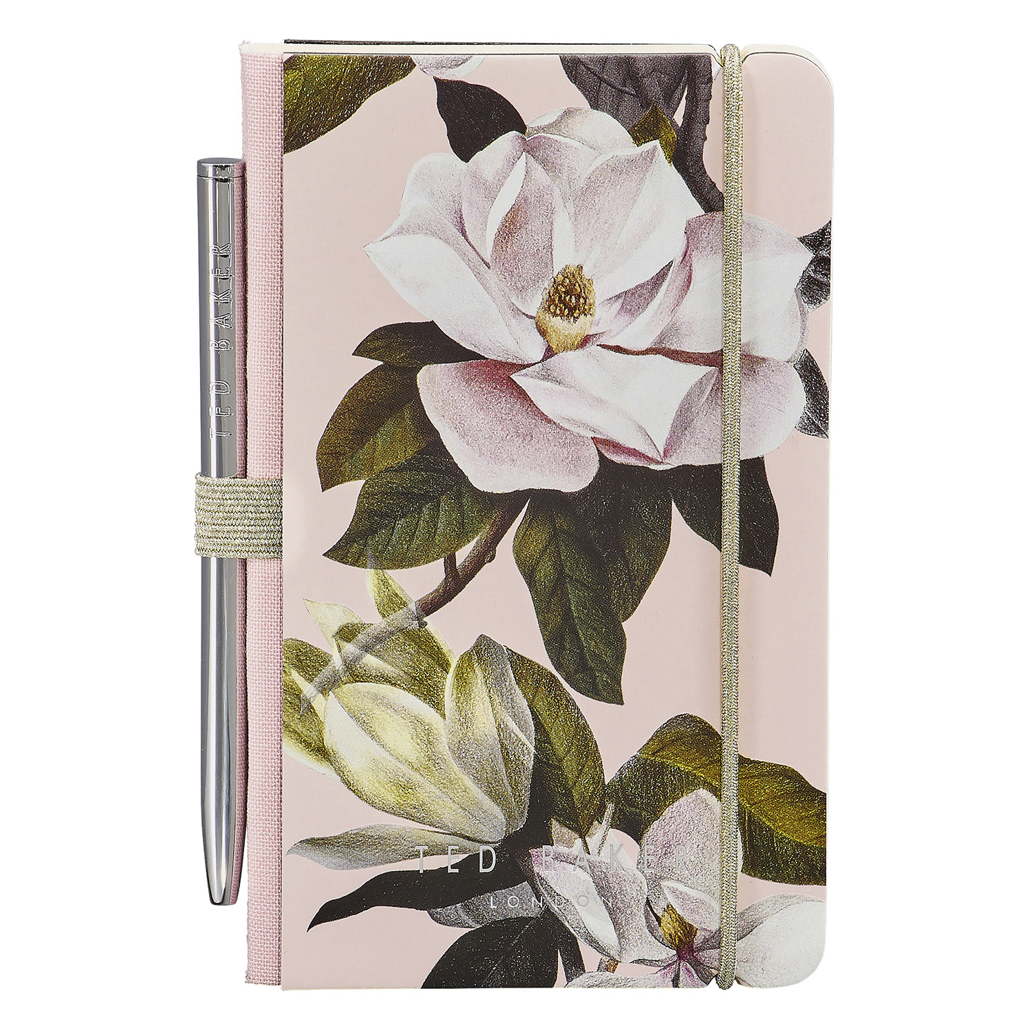 Ted Baker – Pink Opal Floral A7 Mini Notebook and Silver Ballpoint Pen