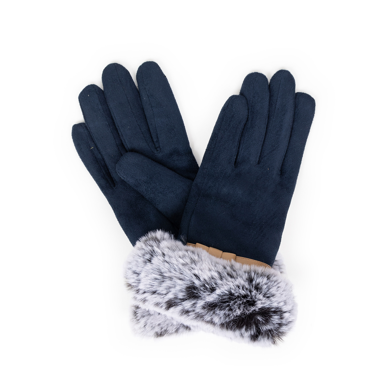 Powder – Navy Blue Faux Suede Penelope Gloves with Powder Presentation Gift Bag