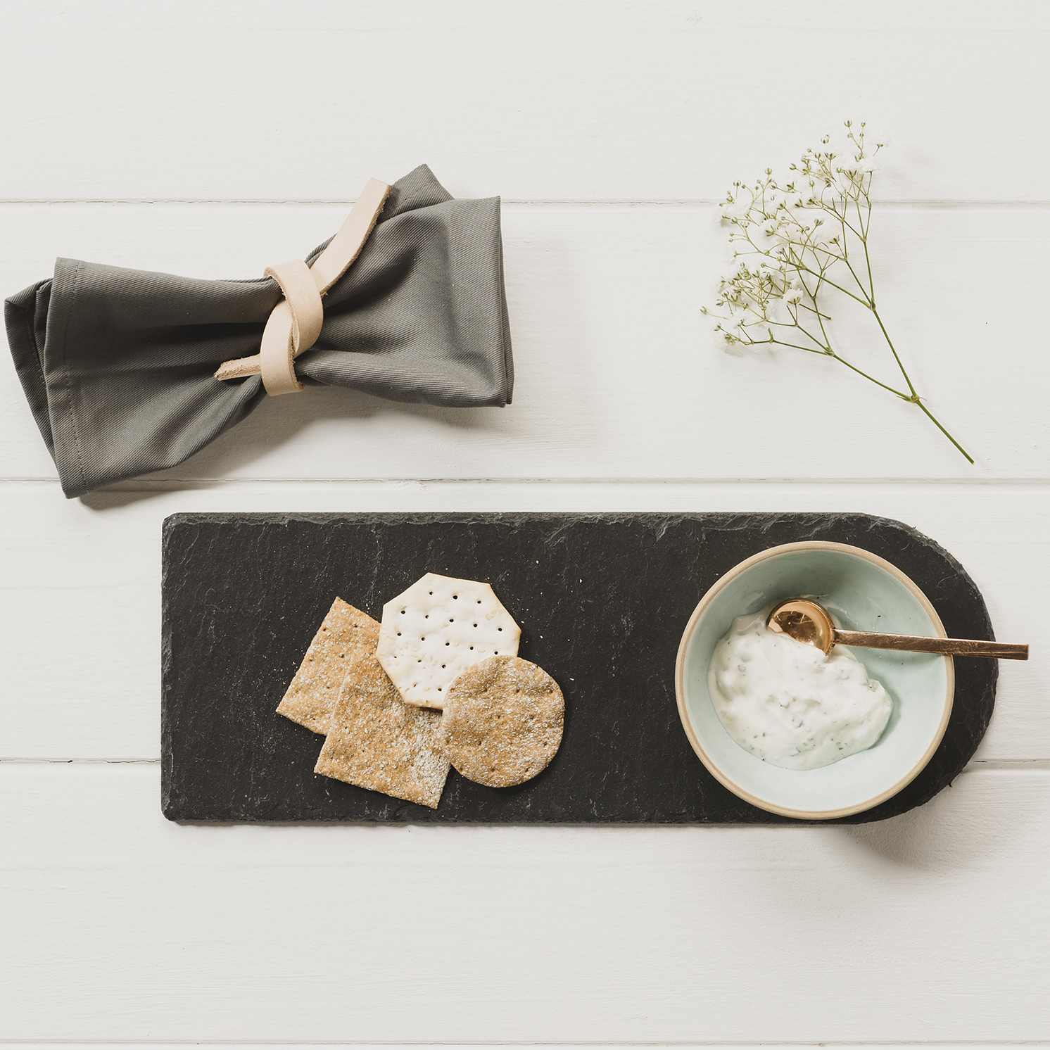The Just Slate Company – Stoneware & Slate Serving Set in Presentation Box