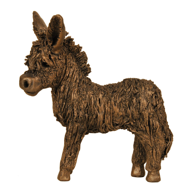 Frith Sculpture – Baby Donkey Standing in Bronze Resin in Gift Box