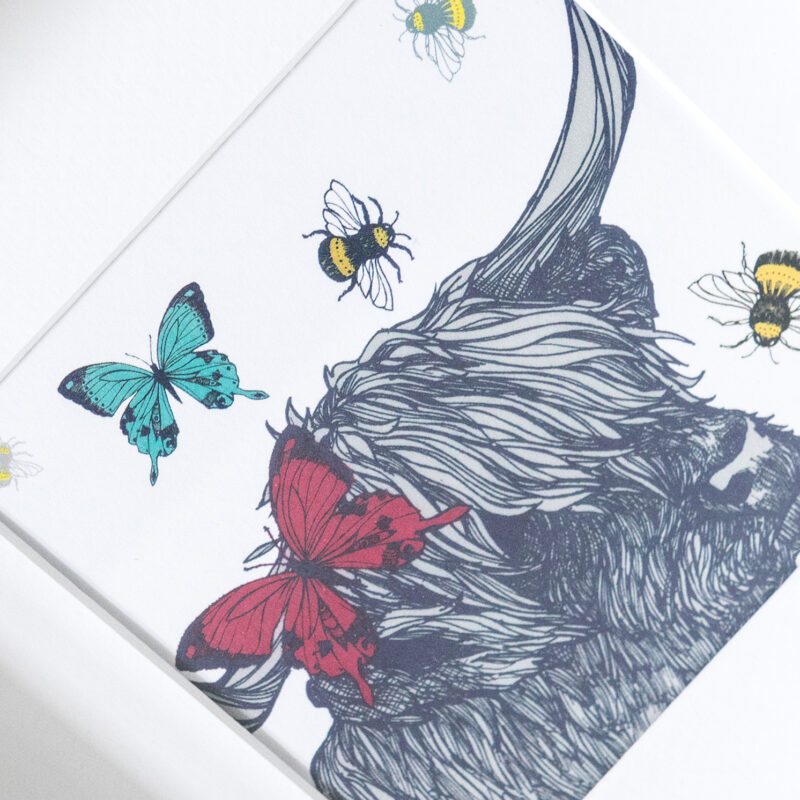 Gillian Kyle – Square Mounted Cow with Bees and Butterflies Print Only
