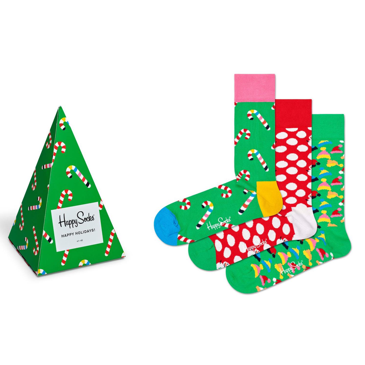 Happy Socks – Set of 3 Pairs of Happy Holiday Socks in Christmas Tree Gift Box