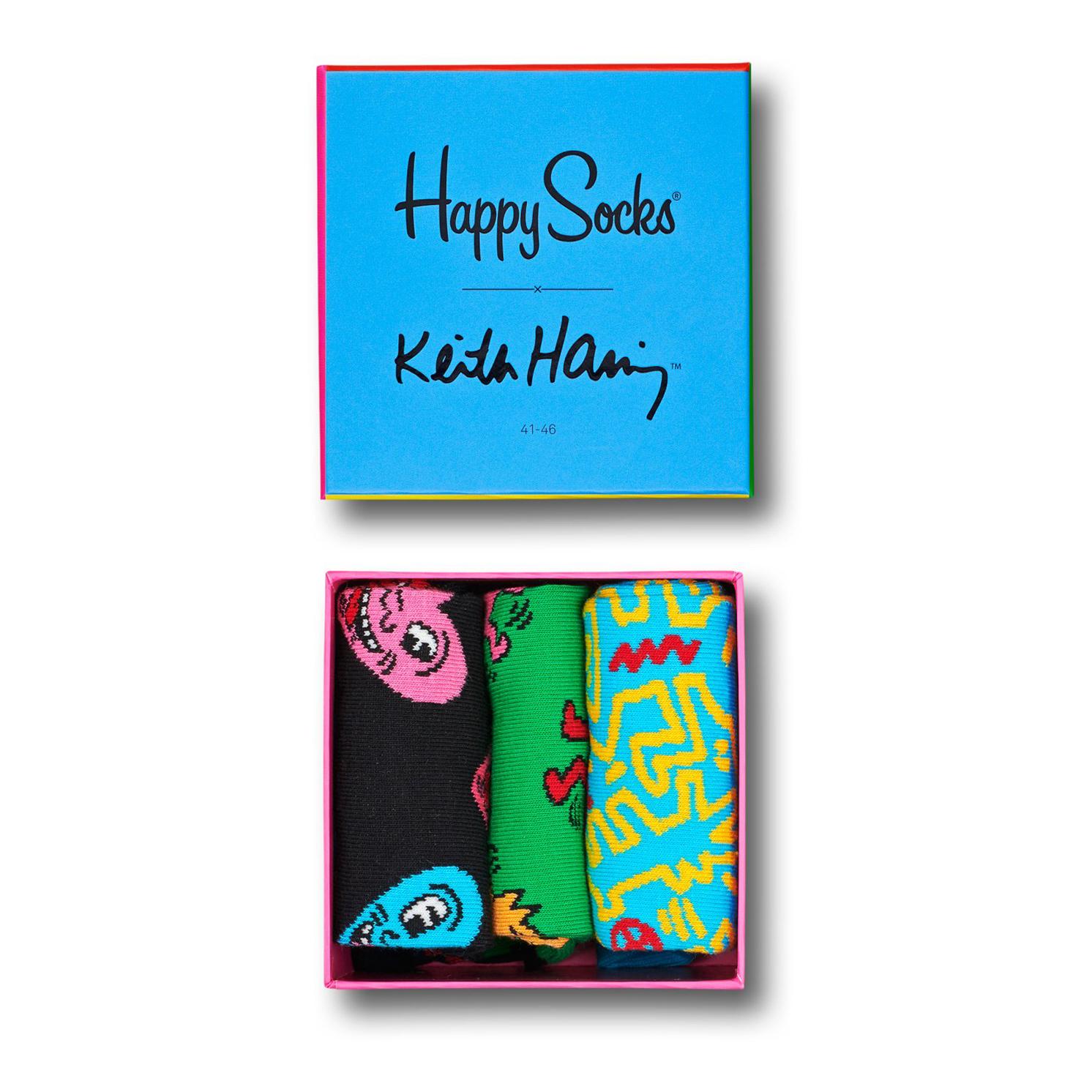 Happy Socks – Set of 3 Pairs of Keith Haring Socks in Presentation Gift Box