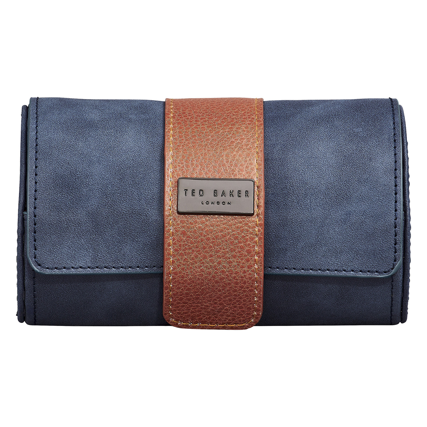 Ted Baker – Navy Blue Faux Leather Watch Roll with Popper Securing Strap