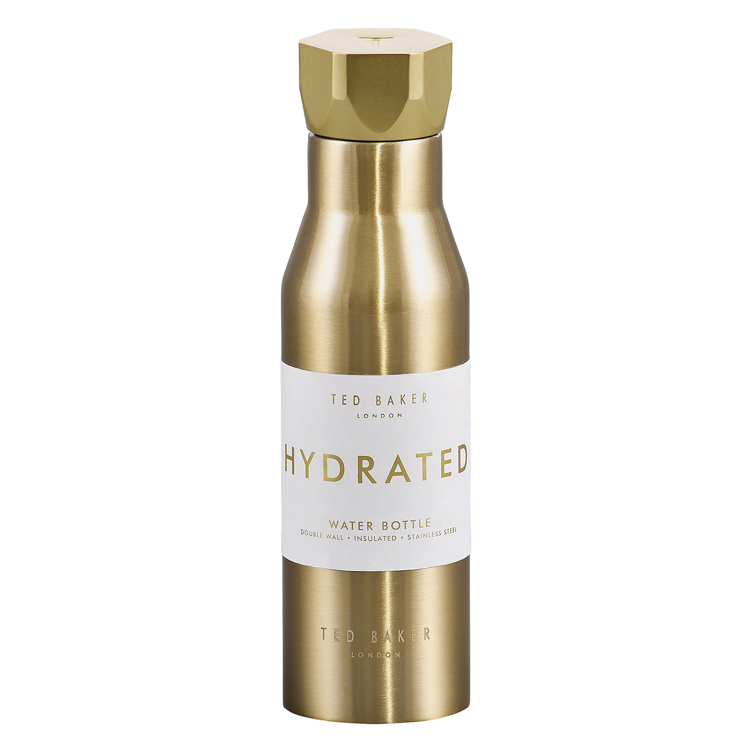Ted Baker – Pale Gold Stainless Steel Hexagonal Lid Insulated Water Bottle