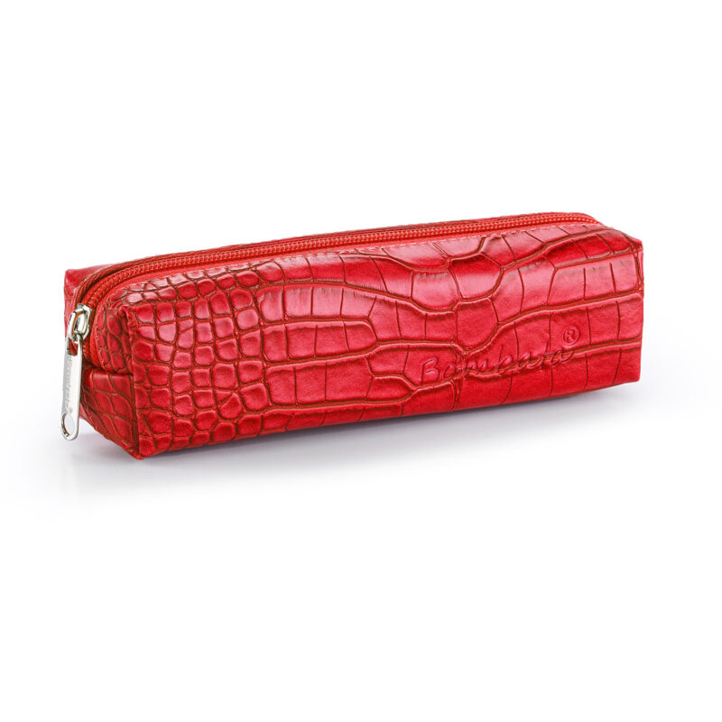 Bombata – Red Cocco Pen Case/Vanity Pouch with Zip Closure