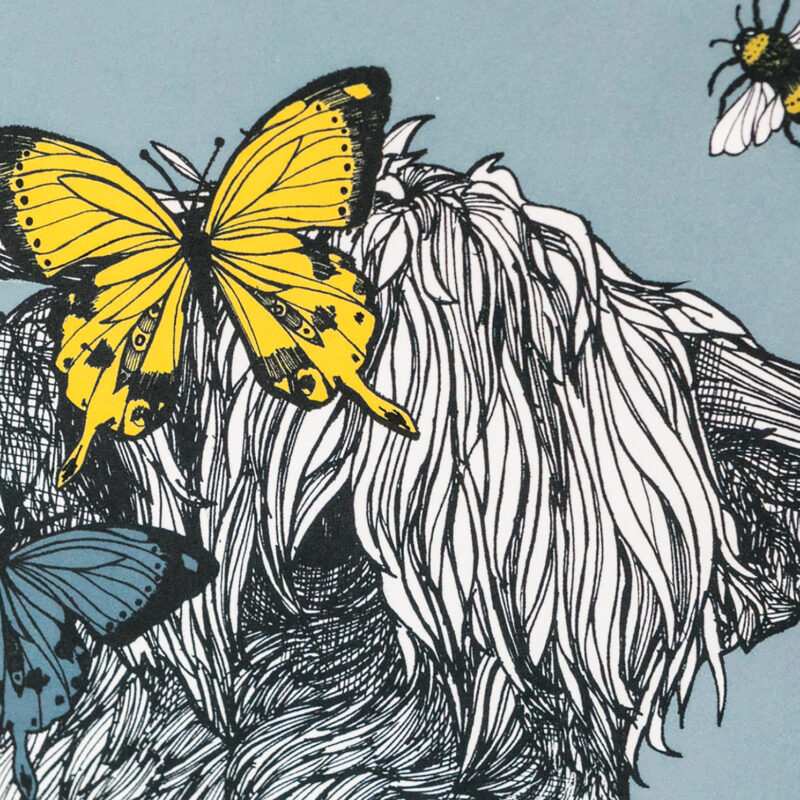 Gillian Kyle – A4 Mounted Lola the Cow with Bees and Butterflies Print Only
