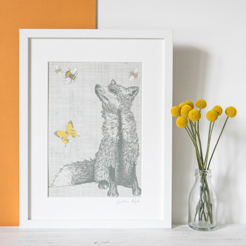 Gillian Kyle – A4 Mounted Fox with Bees and Butterflies Print Only
