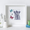 Gillian Kyle – Square Mounted Stag with Bees and Butterflies Print Only