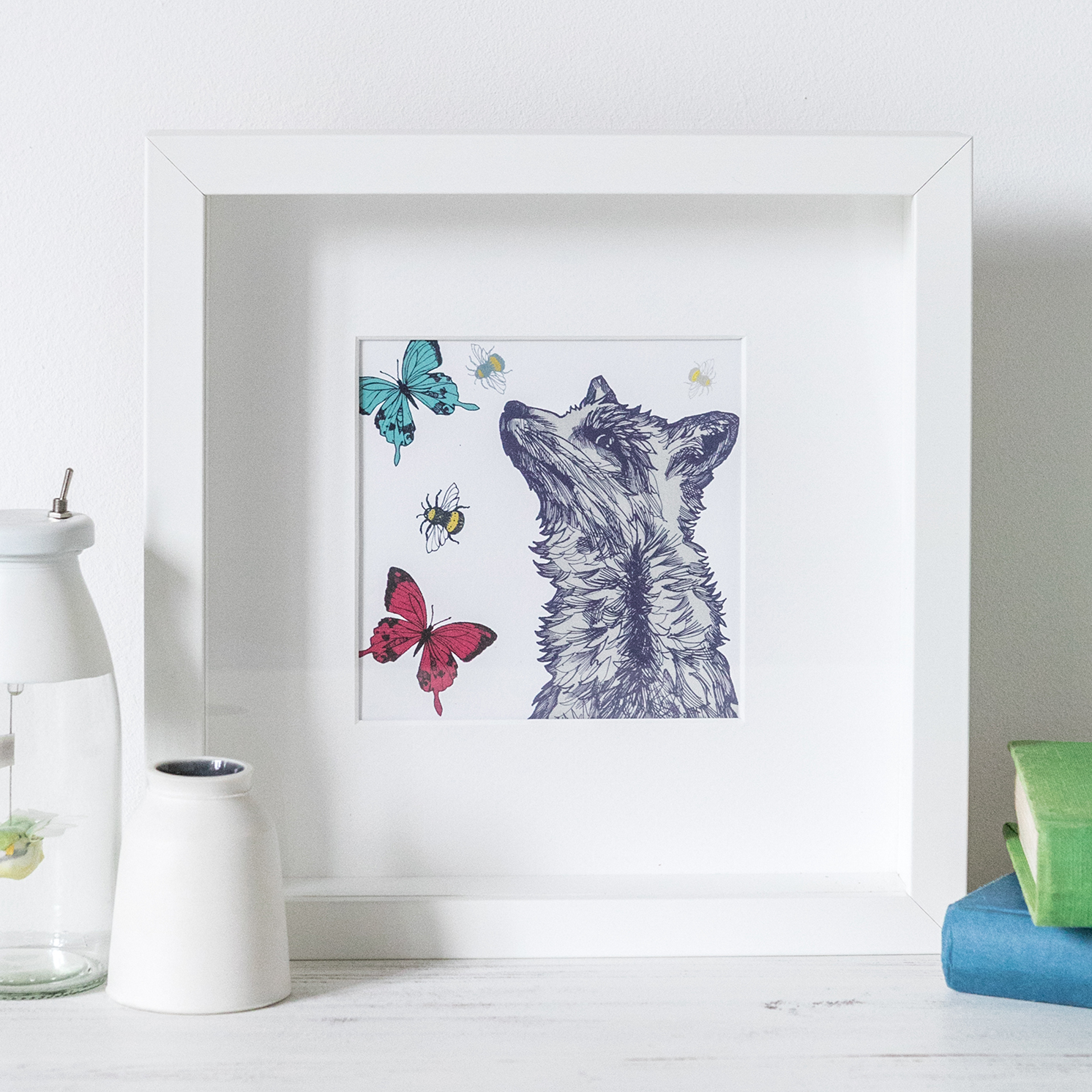 Gillian Kyle – Square Mounted Fox with Bees and Butterflies Print Only