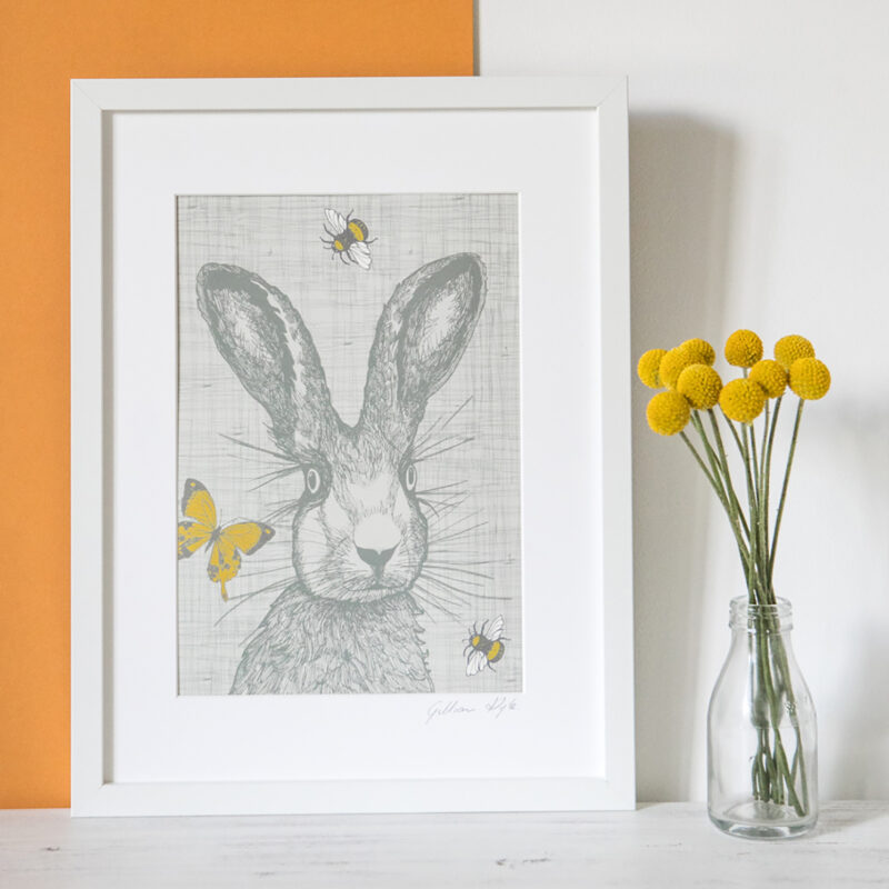 Gillian Kyle – A4 Mounted Hare with Bees and Butterflies Print Only