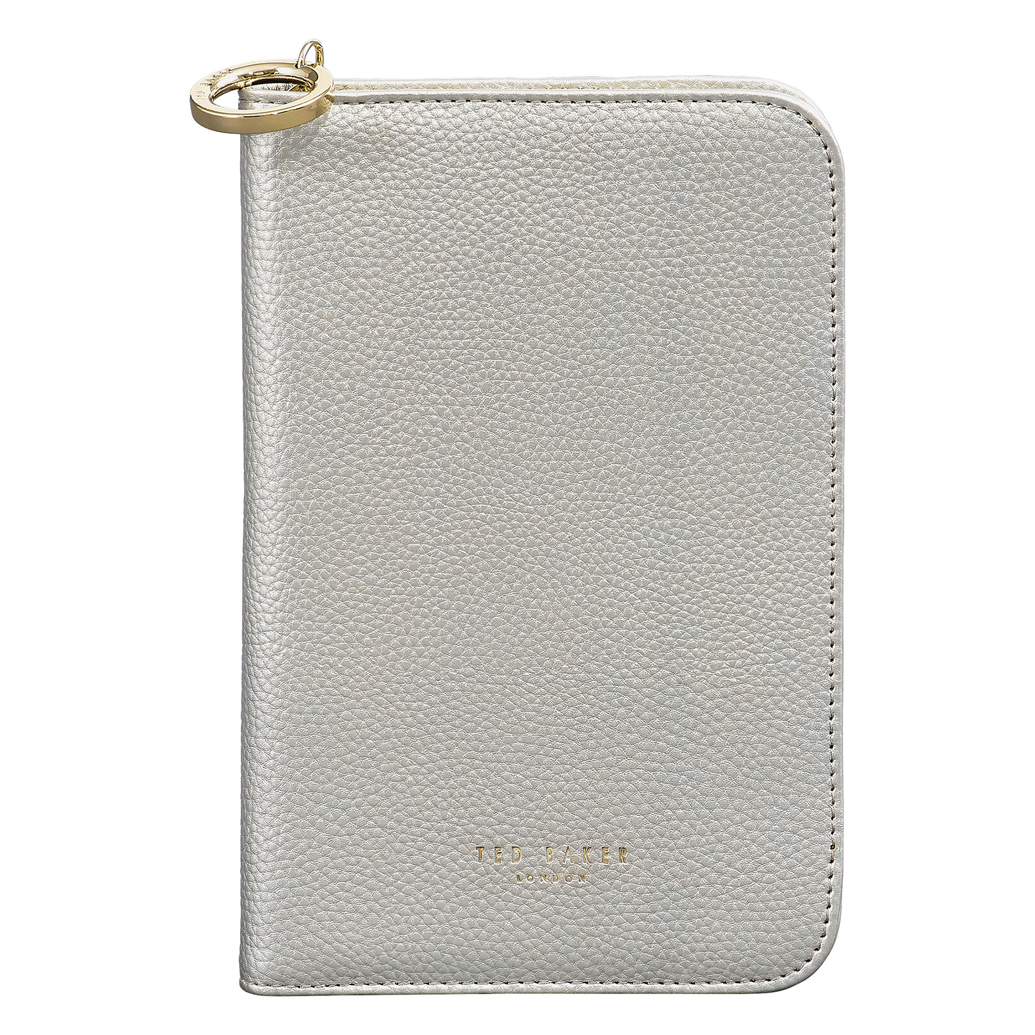 Ted Baker – Silver Textured Faux Leather Travel Organiser with Pen