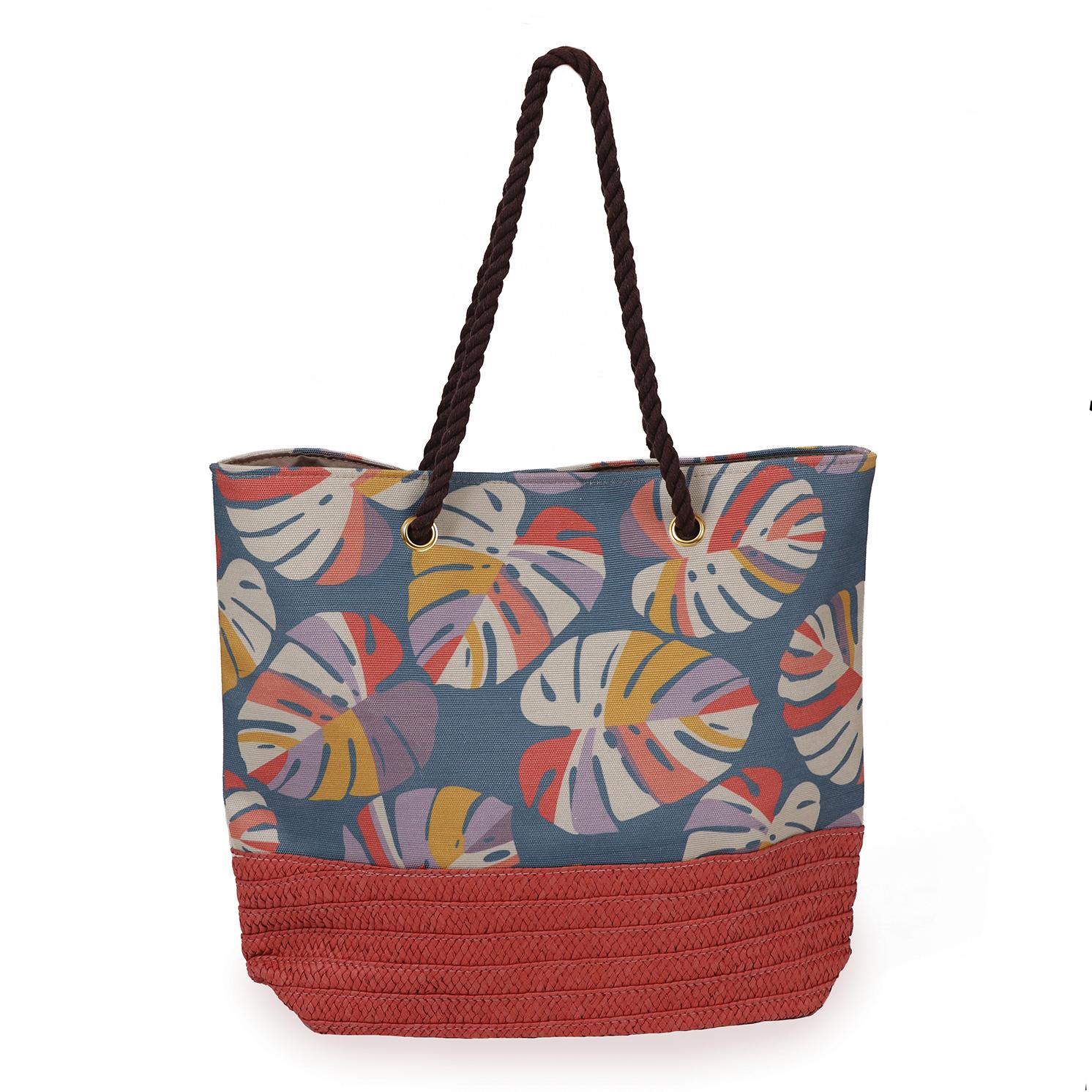 Powder – Teal Palm Leaf Print Beach Bag