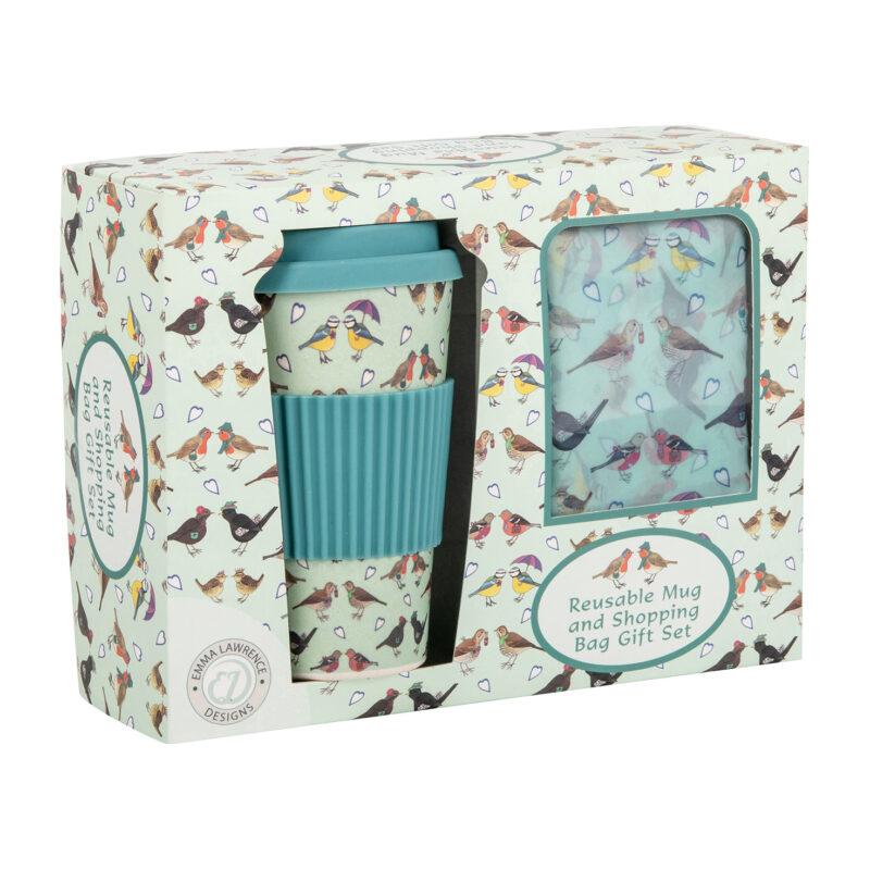 Emma Lawrence – I Love Birds Reusable Mug and Shopping Bag Gift Set