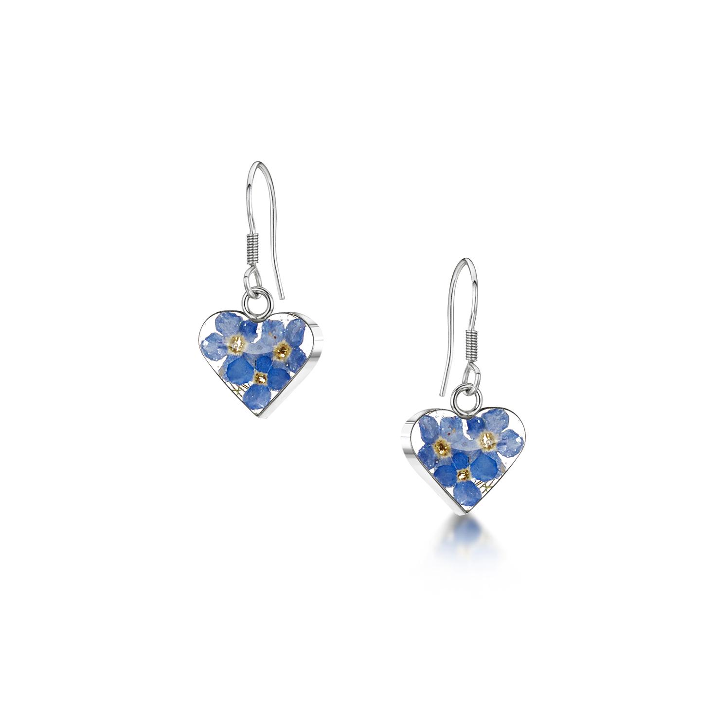 Shrieking Violet – Forget-me-not Silver Small Heart Drop Earrings in Gift Box