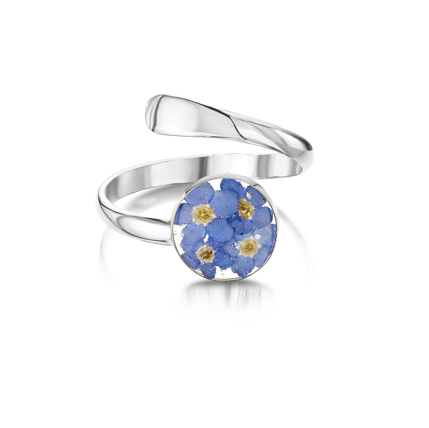 Shrieking Violet – Forget-me-not Sterling Silver Round Adjustable Ring in Box