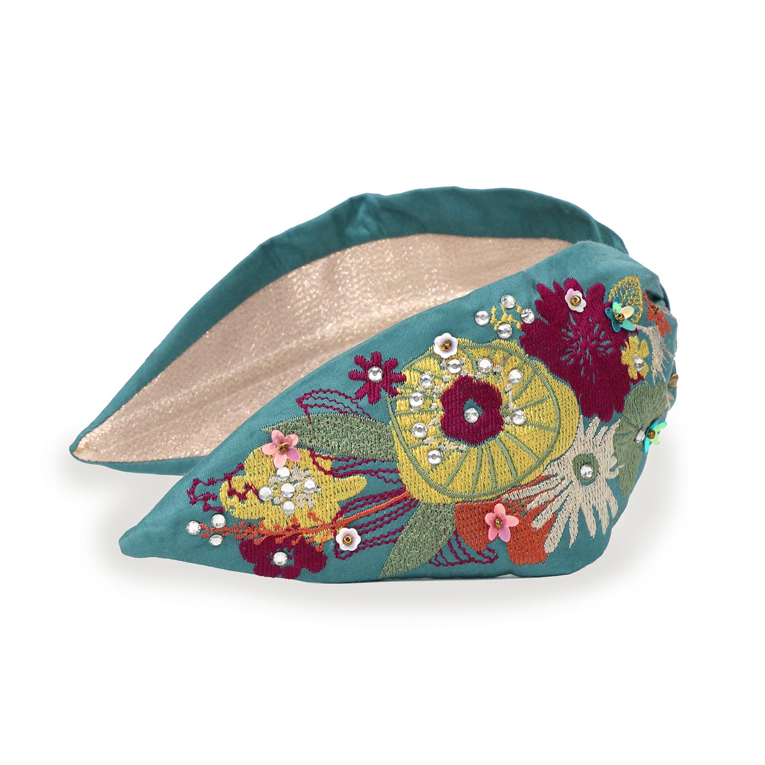 Powder – Turquoise Blue Floral Headband with Powder Presentation Gift Bag