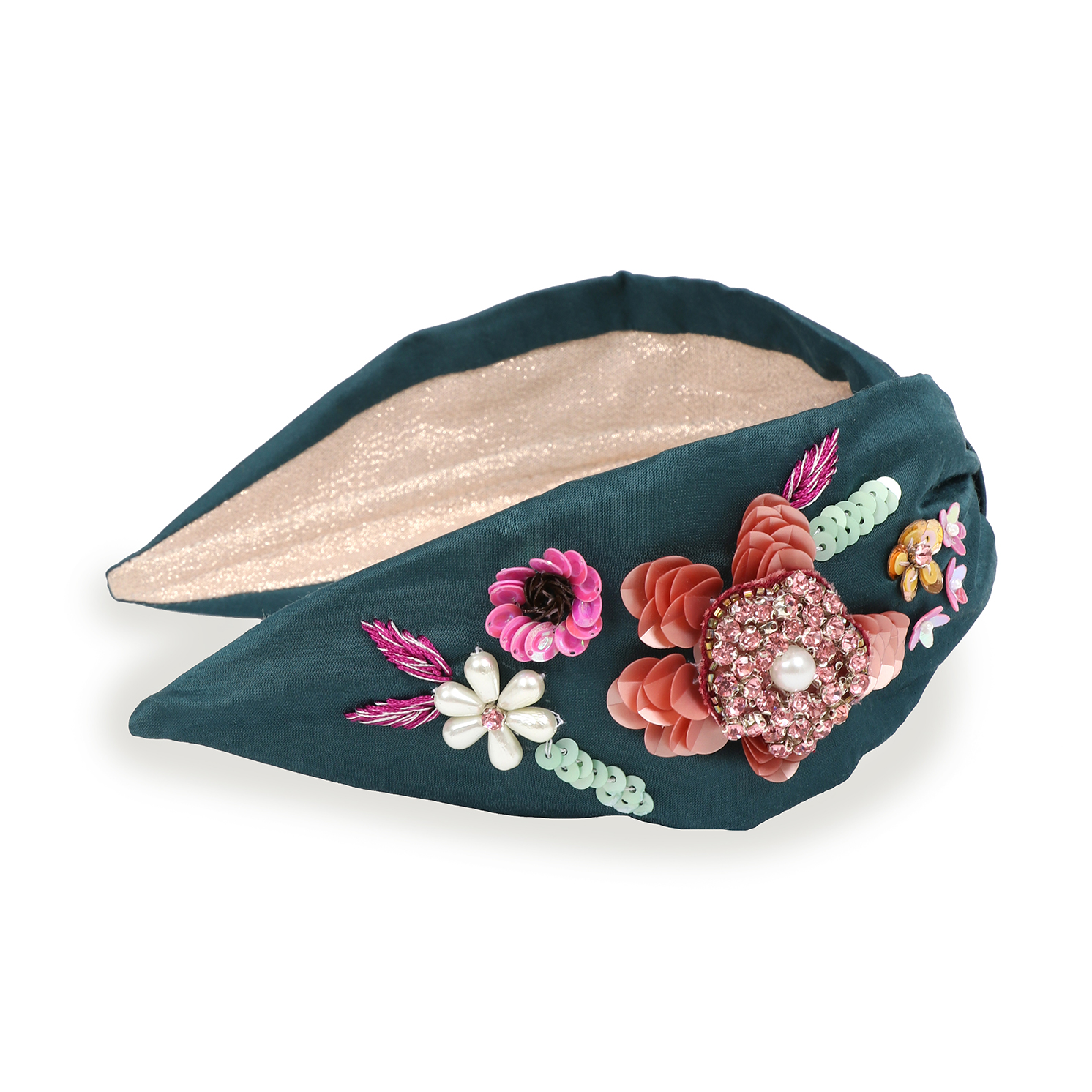 Powder – Teal Embroidered Floral Headband with Powder Presentation Gift Bag